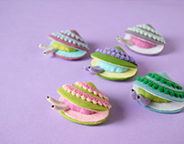 Spring Clam Brooches