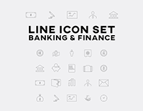 Line Icon Set Design - Banking and Finance