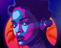 80s Miami Poster Design with Rihanna