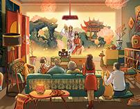 Chinese New Year & Kun Opera特赞X天猫X江苏 民俗戏曲春节插画海报