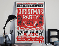 Retro Press Christmas Flyer Invitation
