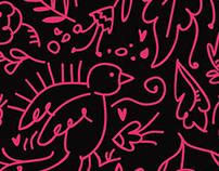 Ilustración / Pattern Floral Black