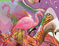 Flamingo Acid Trip. Graphic Art