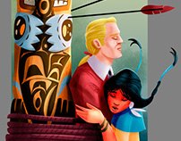 Pocahontas and John Smith - illustrations