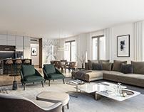 Living room - residential building Giannone 2 Milan