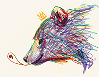 Animals in crayon