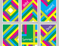 Colorful postcard design template