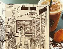 Sketchbook project: Cafe in Seoul