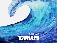 Watercolor tsunami wave