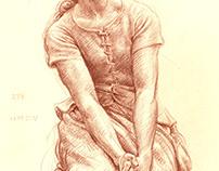 Chalk drawing ( burnt siena) Kamil Strzelecki