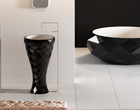 Triangle freestanding washbasin and bathtube design T5