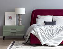 Кровать Sangria и комод Cold Gloss