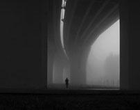 Nostalgic city in the fog