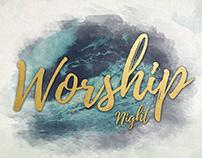 Modern Watercolor Worship Night Flyer