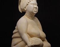 Escultura em cerâmica : Yèyé Omó Ejá