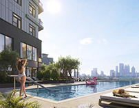 3D reneder of a Rooftop Outdoor Pool