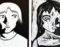 Self Portraits In Paper Cutout & Rubber Cement Relief