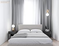 Minimalist bedroom with a pich of extravagance