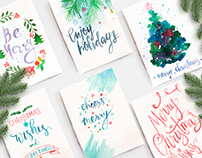 Watercolor hand lettering post cards