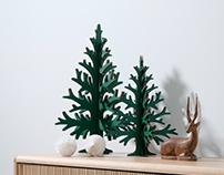 Green cardboard christmas trees