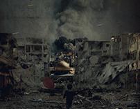 under bombing