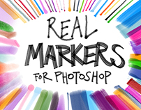FREEBIES – 5 REAL MARKERS FOR PHOTOSHOP