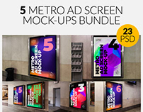 5 Outdoor Ad Screen Mock-Ups Bundle