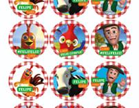 Algunas de las etiquetas para el cumple de Feli.