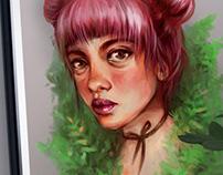 Rose - stylized digital painting portrait (B2 poster)