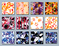Set of watercolor seamless pattern and design elements