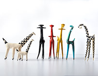 colorful raku giraffes