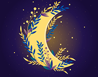 Vector illustration of the moon
