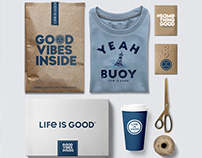 Retail Package Design for Life is Good apparel brand