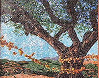 Stained glass mosaic mural in Walnut Creek, CA