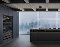 Dark and atmospheric kitchen