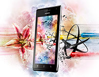 Huawei Advertising - explosion of Atoms and Flowers