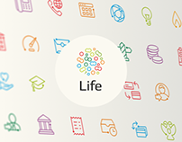 Icon set for Life bank
