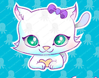 Cute kitten vector illustration and stickers