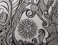 Black and white zentangle curves