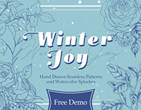 Winter Joy Hand Drawn Flowers - with freebies!