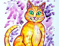 Orange Kitty Pop Art