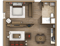 Floor plan rendering (Combloux Alpes) France