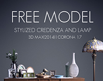 Free Model   Credenza and Lamp