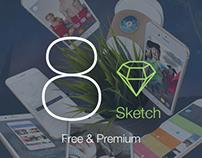 8 for Sketch 3 - Mobile UI Kit - Free & Premium