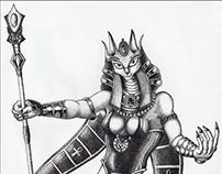 Goddess Bastet | ballpoint pen drawing | 2009