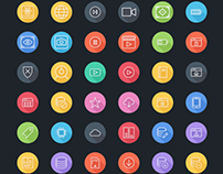 iOS9 Icons: Multimedia - Technology FlatLineIcons.com