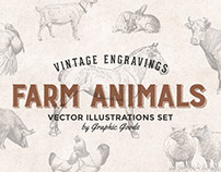 Farm Animals - Vintage Engraving Illustrations Set