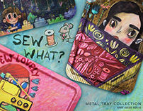 Sewing Themed Metal Tray Collection