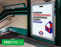 Free London Underground Advertising Screen Mock-Up 2