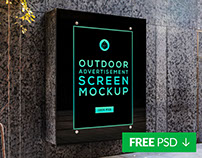 Free Outdoor Advertising Screen Mock-Up 5